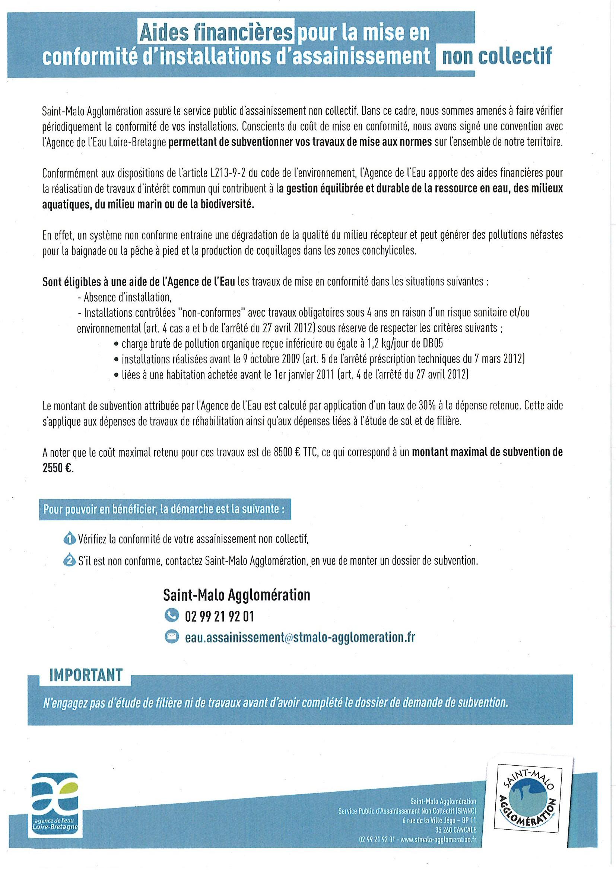 Aides financières pour la mise en conformité d'installations d'assainissement non collectif